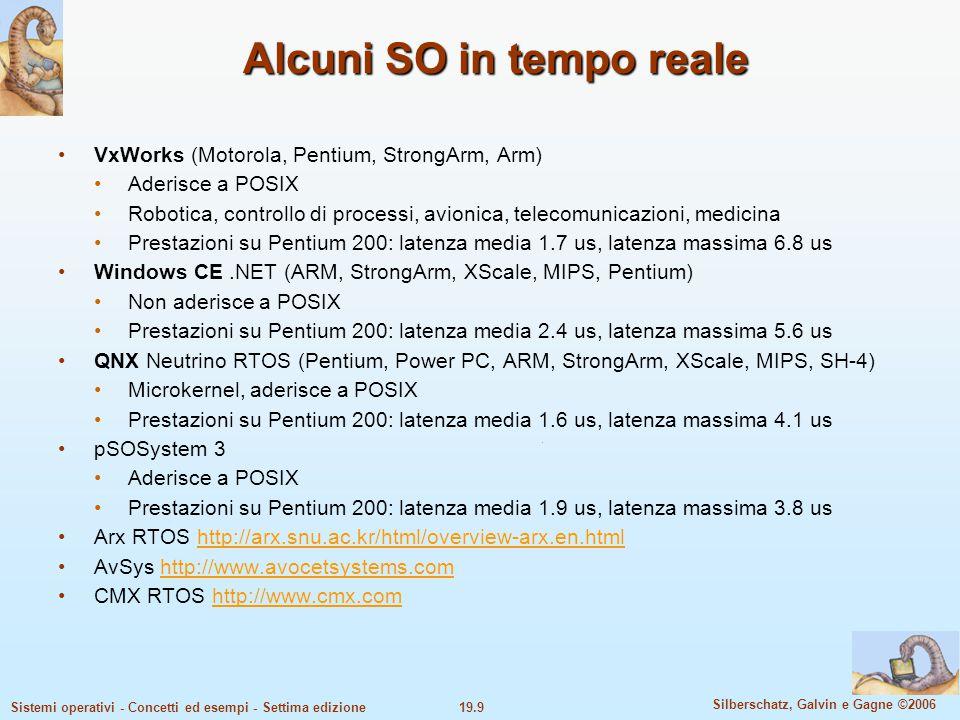 19.9 Silberschatz, Galvin e Gagne ©2006 Sistemi operativi - Concetti ed esempi - Settima edizione Alcuni SO in tempo reale VxWorks (Motorola, Pentium,