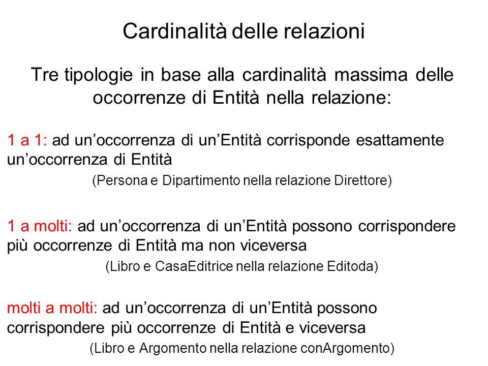 Cardinalità delle relazioni Tre tipologie in base alla cardinalità massima delle occorrenze di Entità nella relazione: 1 a 1: ad un'occorrenza di un'E