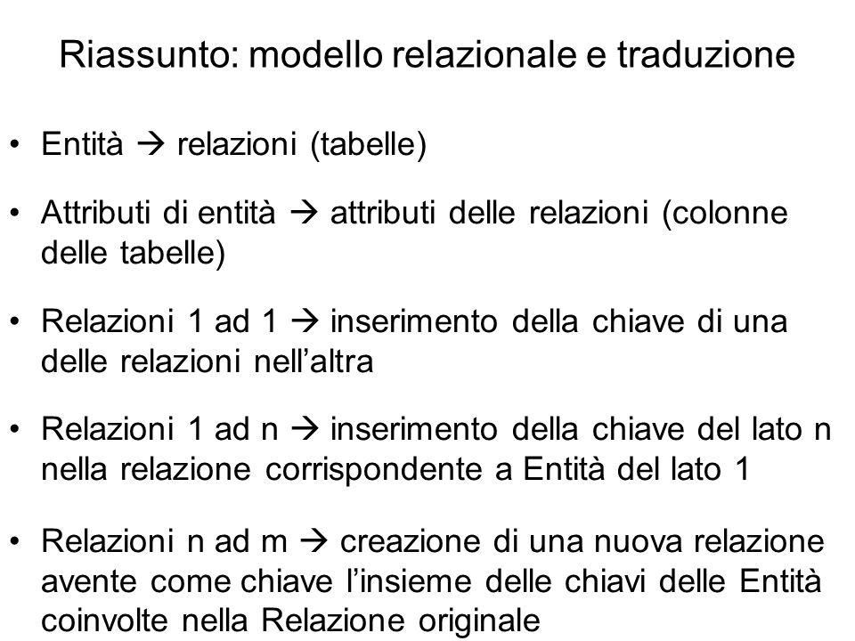 Riassunto: modello relazionale e traduzione Entità  relazioni (tabelle) Attributi di entità  attributi delle relazioni (colonne delle tabelle) Relaz