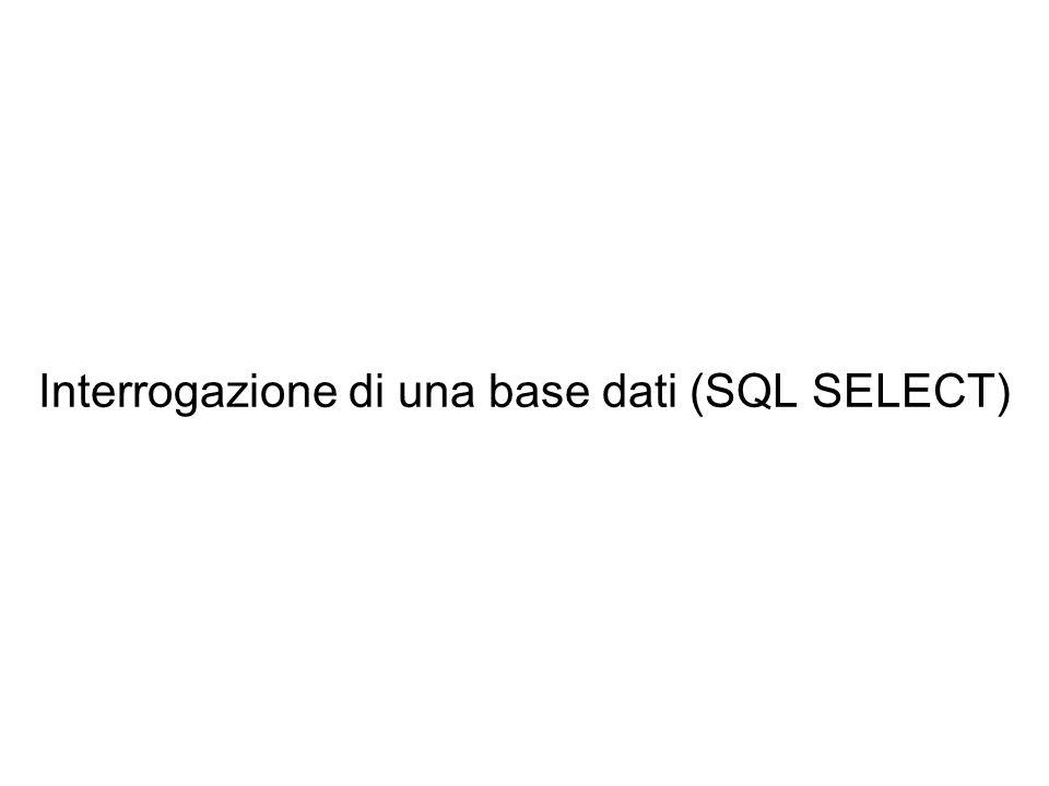 Interrogazione di una base dati (SQL SELECT)