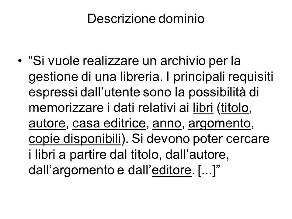"""Descrizione dominio """"Si vuole realizzare un archivio per la gestione di una libreria. I principali requisiti espressi dall'utente sono la possibilità"""