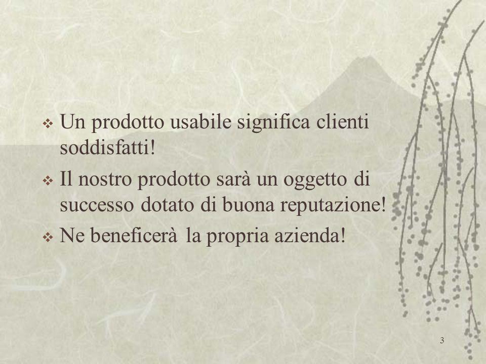 2 L'usabilità: Ha senso solo in presenza di un utente e di una relazione d'uso.