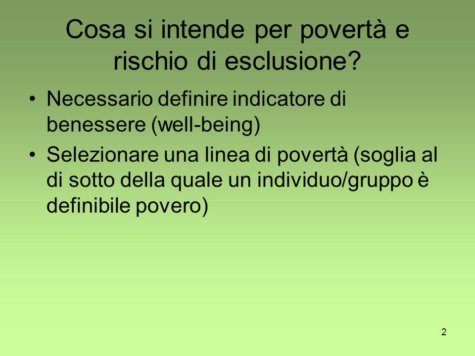 3 Problemi Come si misura la povertà.Quali indicatori.