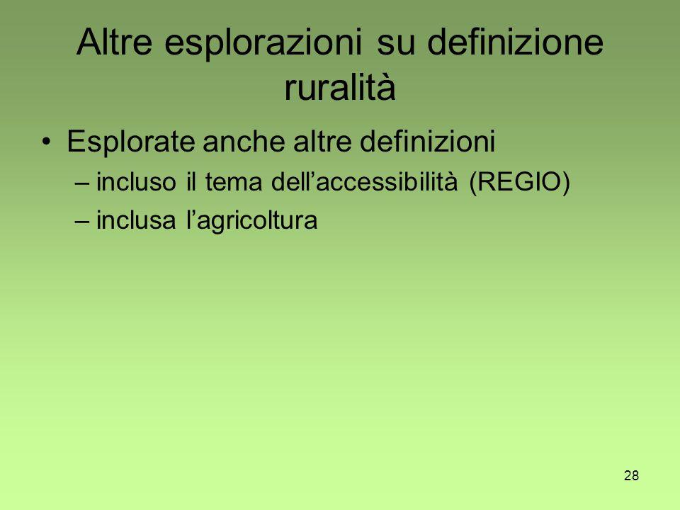 28 Altre esplorazioni su definizione ruralità Esplorate anche altre definizioni –incluso il tema dell'accessibilità (REGIO) –inclusa l'agricoltura