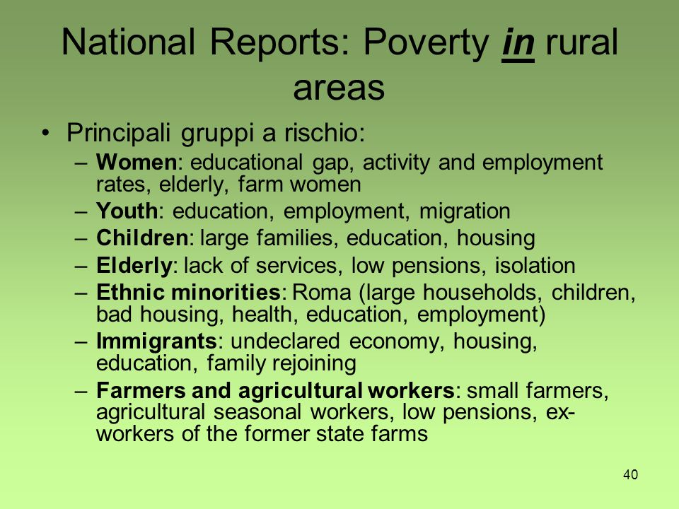 40 National Reports: Poverty in rural areas Principali gruppi a rischio: –Women: educational gap, activity and employment rates, elderly, farm women –