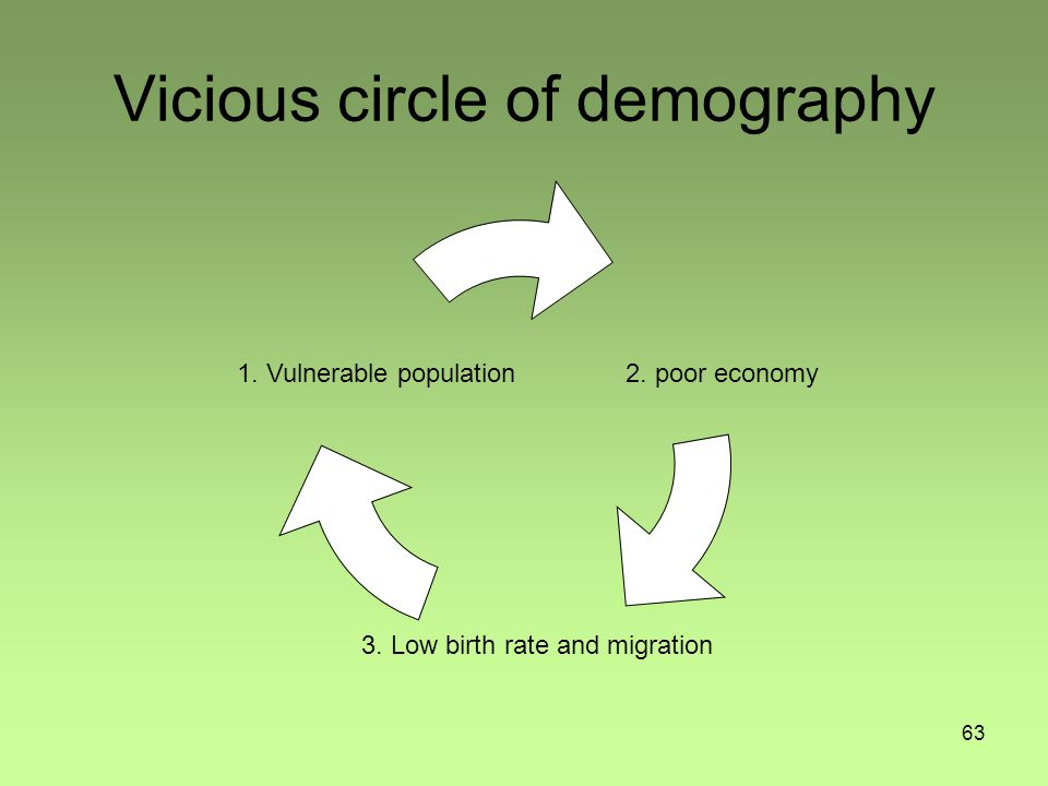 63 Vicious circle of demography 1.Vulnerable population2.