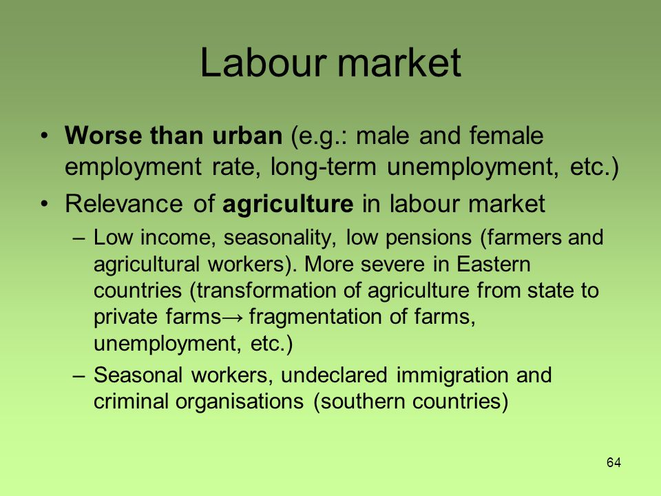 64 Labour market Worse than urban (e.g.: male and female employment rate, long-term unemployment, etc.) Relevance of agriculture in labour market –Low