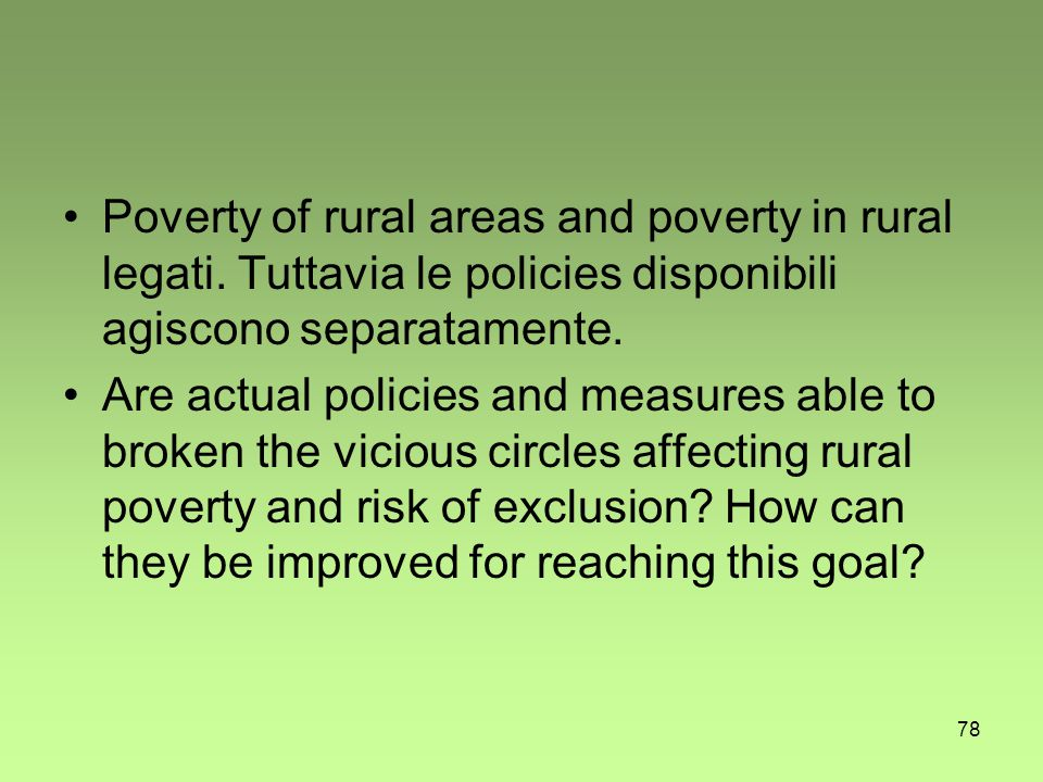 78 Poverty of rural areas and poverty in rural legati.