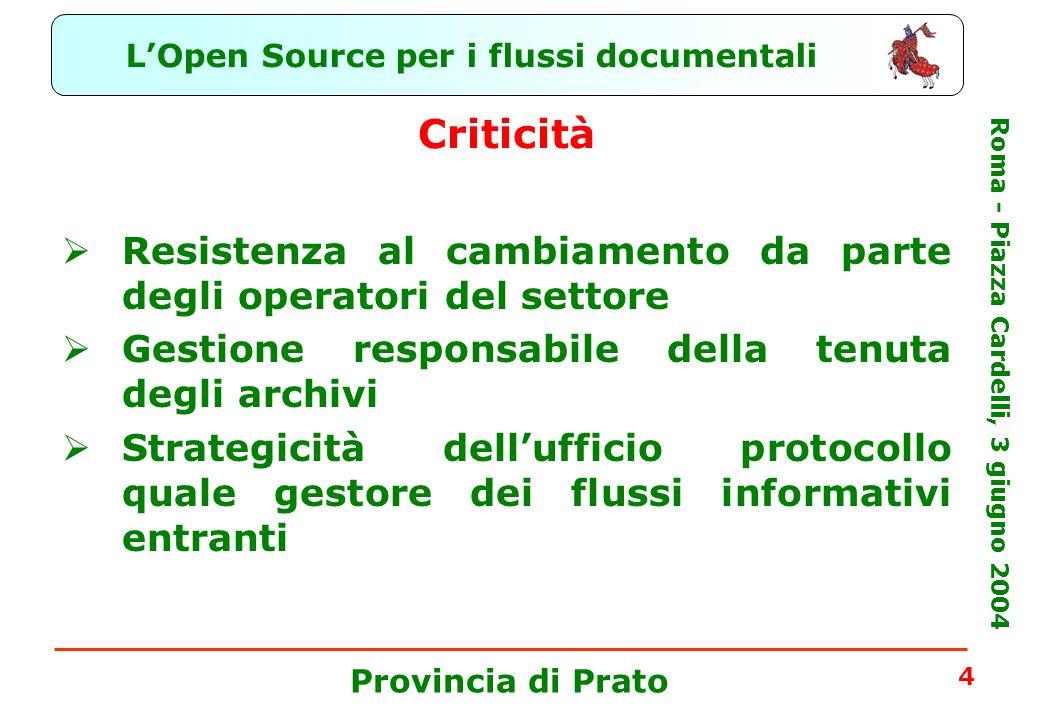 L'Open Source per i flussi documentali Roma - Piazza Cardelli, 3 giugno 2004 Provincia di Prato 4 Criticità  Resistenza al cambiamento da parte degli operatori del settore  Gestione responsabile della tenuta degli archivi  Strategicità dell'ufficio protocollo quale gestore dei flussi informativi entranti