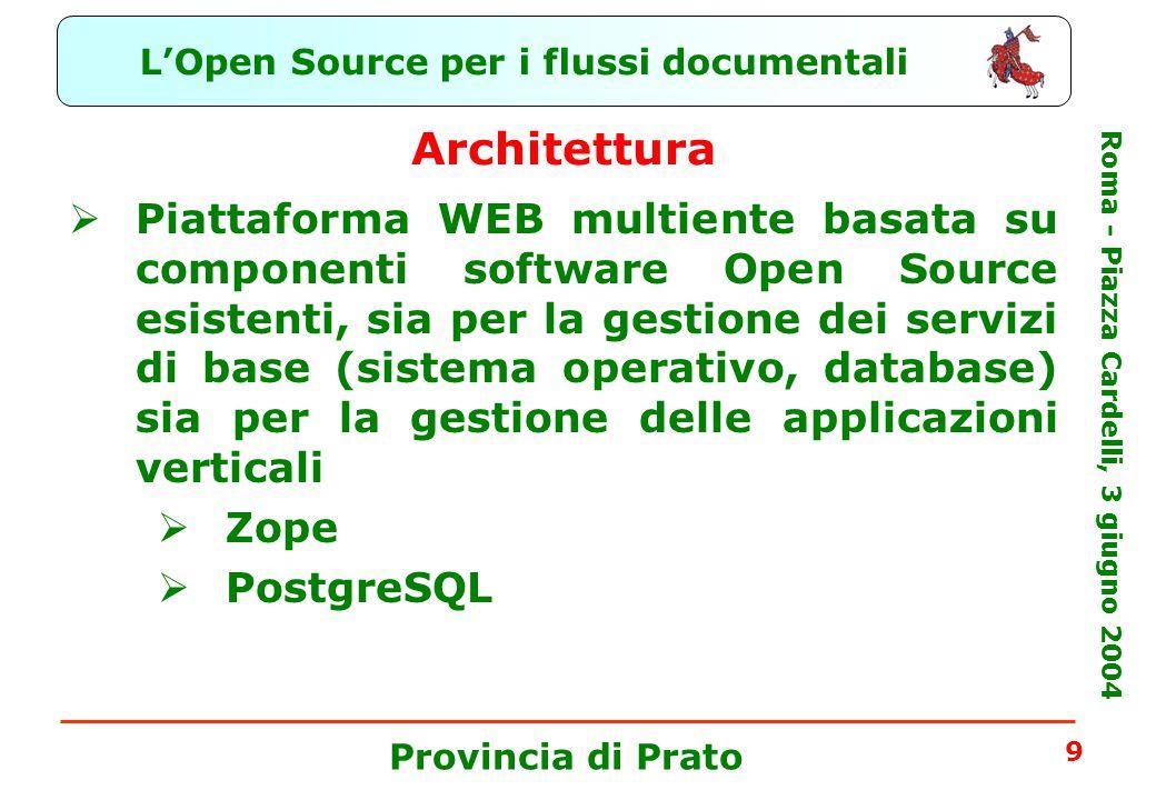 L'Open Source per i flussi documentali Roma - Piazza Cardelli, 3 giugno 2004 Provincia di Prato 9 Architettura  Piattaforma WEB multiente basata su componenti software Open Source esistenti, sia per la gestione dei servizi di base (sistema operativo, database) sia per la gestione delle applicazioni verticali  Zope  PostgreSQL