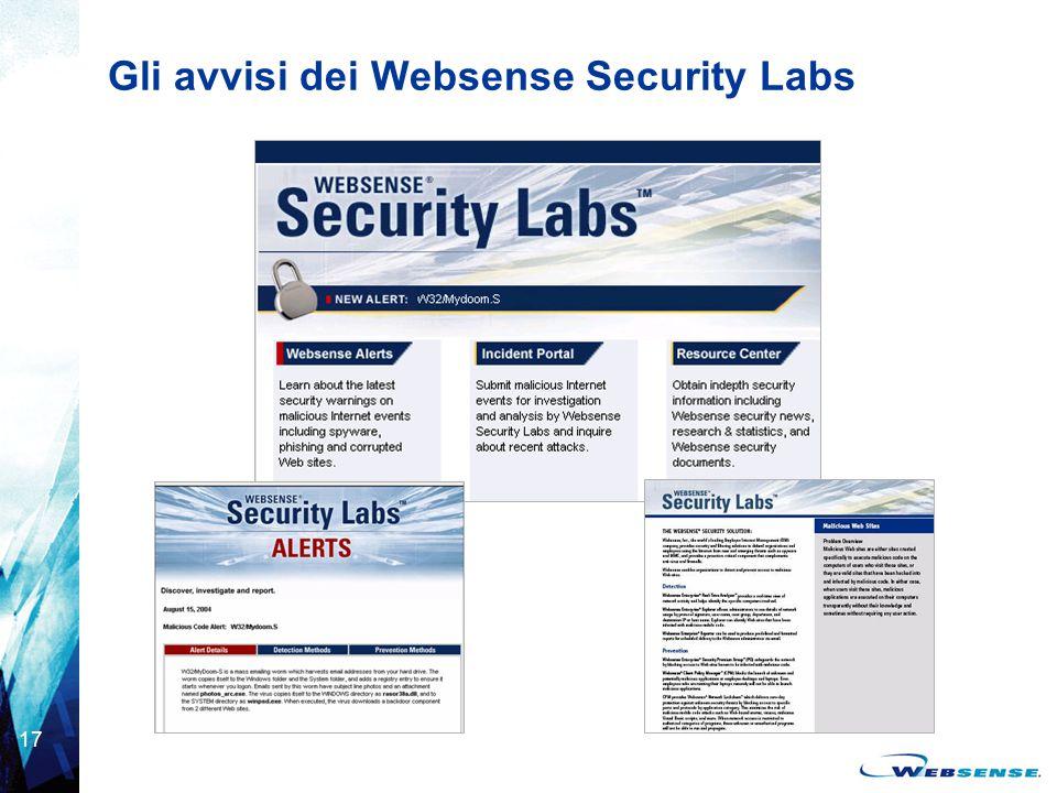 17 Gli avvisi dei Websense Security Labs