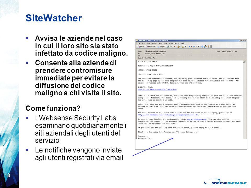 18 SiteWatcher  Avvisa le aziende nel caso in cui il loro sito sia stato infettato da codice maligno.  Consente alla aziende di prendere contromisur
