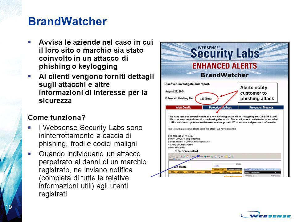 19 BrandWatcher  Avvisa le aziende nel caso in cui il loro sito o marchio sia stato coinvolto in un attacco di phishing o keylogging  Ai clienti ven