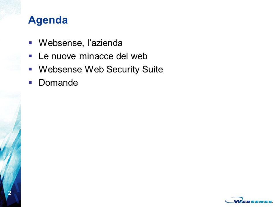 3 Websense ® in breve  Leader di mercato nelle soluzioni di web filtering e fornitore di punta di software per la web security  Oltre 24.000 clienti e 19,8 milioni di dipendenti in tutto il mondo sono protetti con i prodotti Websense  Fondata nel 1994 e quotata al Nasdaq  Quartier generale a San Diego, California  Oltre 470 dipendenti nel mondo  Un'azienda solida e in crescita –150 milioni di dollari di venduto nel 2004 (+35% di crescita anno su anno)  Numerosi riconoscimenti: –Inserimento nell'elenco delle aziende tecnologiche top del 2005 di Forbes –Inserimento nell'elenco 2004 delle aziende a crescita più rapida di Fortune