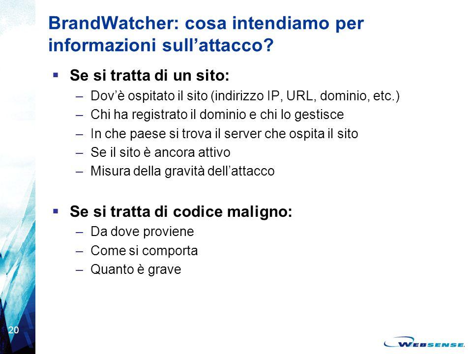 20 BrandWatcher: cosa intendiamo per informazioni sull'attacco?  Se si tratta di un sito: –Dov'è ospitato il sito (indirizzo IP, URL, dominio, etc.)