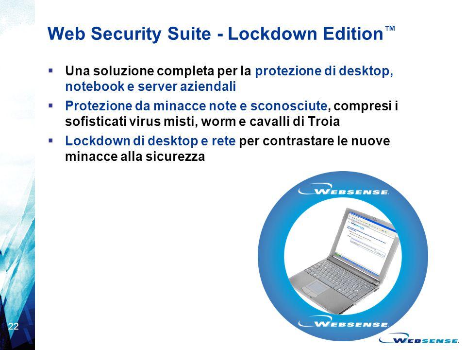 22 Web Security Suite - Lockdown Edition ™  Una soluzione completa per la protezione di desktop, notebook e server aziendali  Protezione da minacce