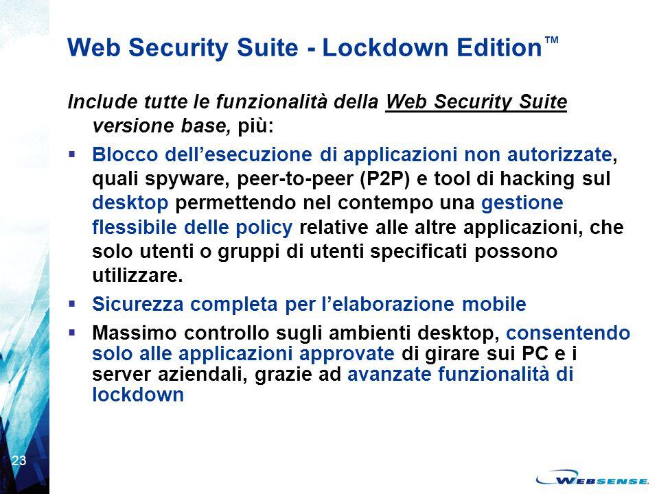 23 Web Security Suite - Lockdown Edition ™ Include tutte le funzionalità della Web Security Suite versione base, più:  Blocco dell'esecuzione di appl