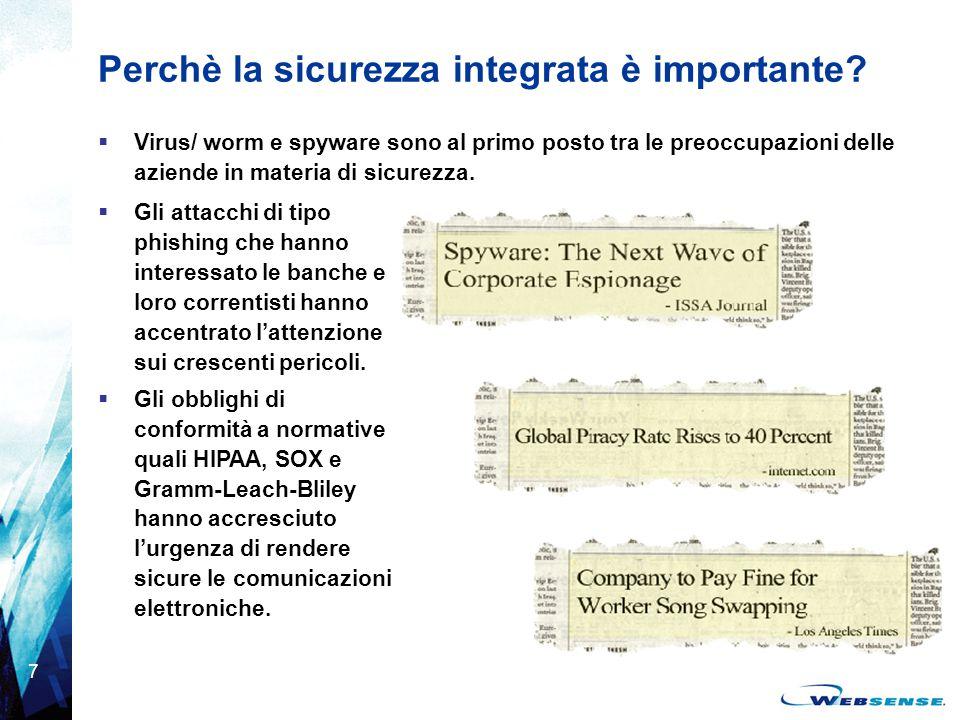 7 Perchè la sicurezza integrata è importante?  Virus/ worm e spyware sono al primo posto tra le preoccupazioni delle aziende in materia di sicurezza.
