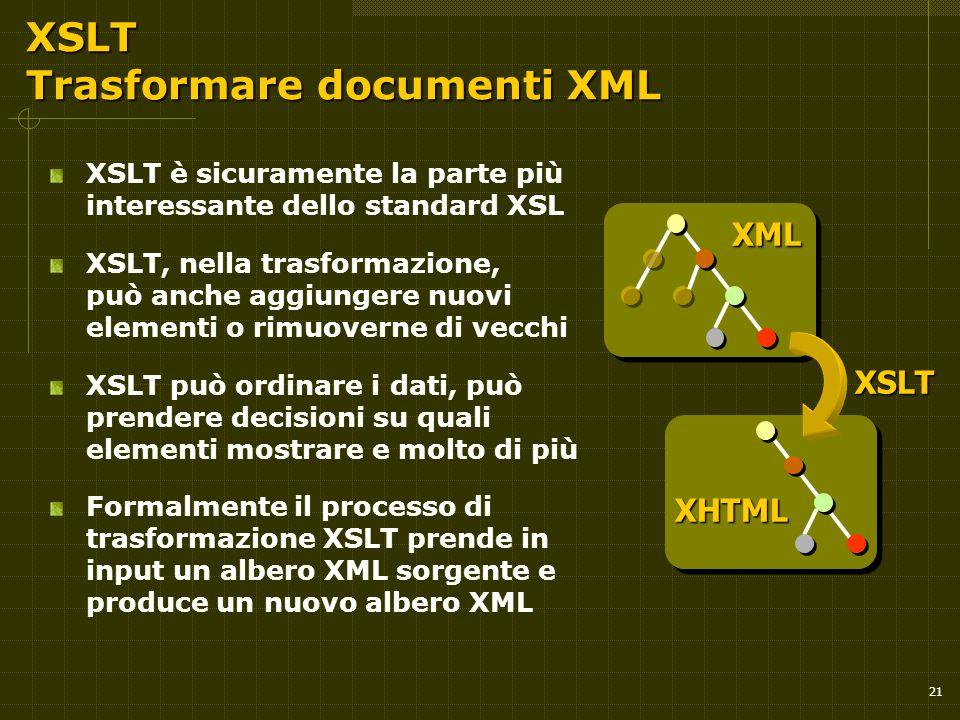 21 XSLT Trasformare documenti XML XSLT è sicuramente la parte più interessante dello standard XSL XSLT, nella trasformazione, può anche aggiungere nuovi elementi o rimuoverne di vecchi XSLT può ordinare i dati, può prendere decisioni su quali elementi mostrare e molto di più Formalmente il processo di trasformazione XSLT prende in input un albero XML sorgente e produce un nuovo albero XML XSLT XML XHTML