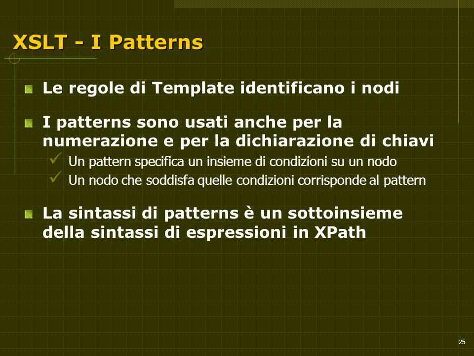 25 XSLT - I Patterns Le regole di Template identificano i nodi I patterns sono usati anche per la numerazione e per la dichiarazione di chiavi Un patt