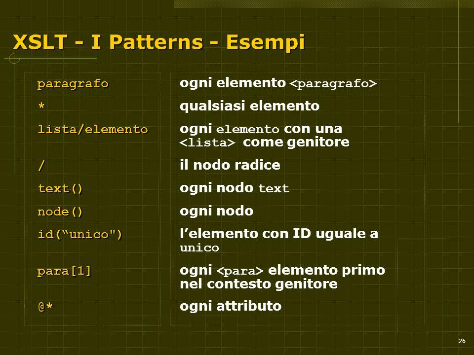 26 XSLT - I Patterns - Esempi paragrafo paragrafo ogni elemento * * qualsiasi elemento lista/elemento lista/elemento ogni elemento con una come genitore / / il nodo radice text() text() ogni nodo text node() node() ogni nodo id( unico ) id( unico ) l'elemento con ID uguale a unico para[1] para[1] ogni elemento primo nel contesto genitore @* @* ogni attributo