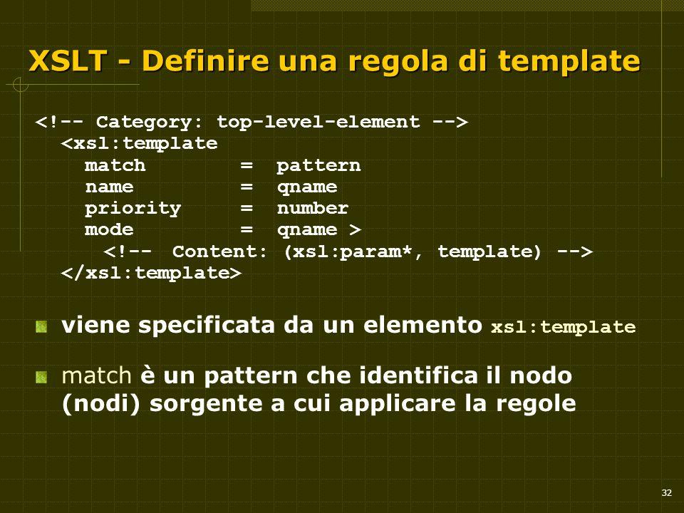 32 XSLT - Definire una regola di template XSLT - Definire una regola di template viene specificata da un elemento xsl:template match è un pattern che