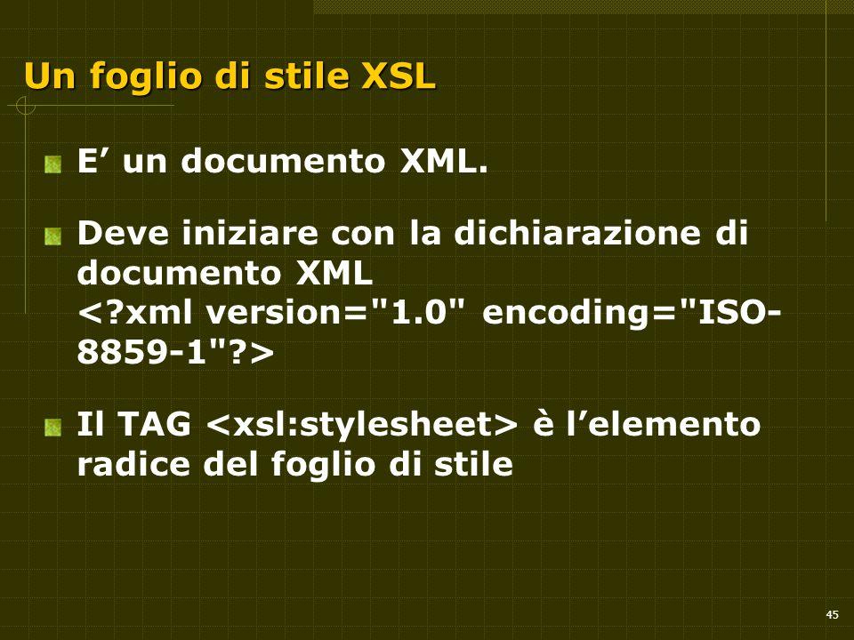 45 Un foglio di stile XSL E' un documento XML.