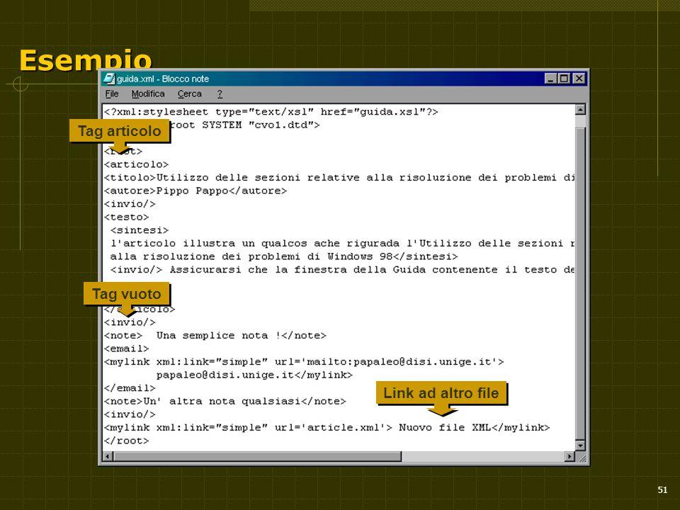 51 Esempio Tag articolo Link ad altro file Tag vuoto