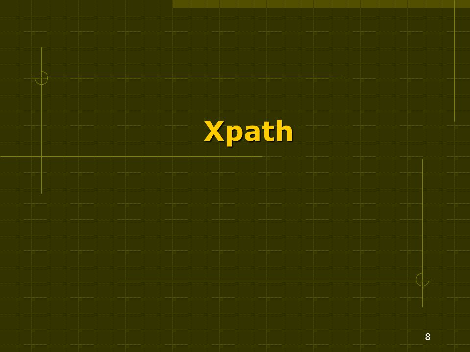 9 XPath Linguaggio per esprimere espressioni di cammino sulla struttura gerarchica dei documenti XML Basato sul concetto di context node.