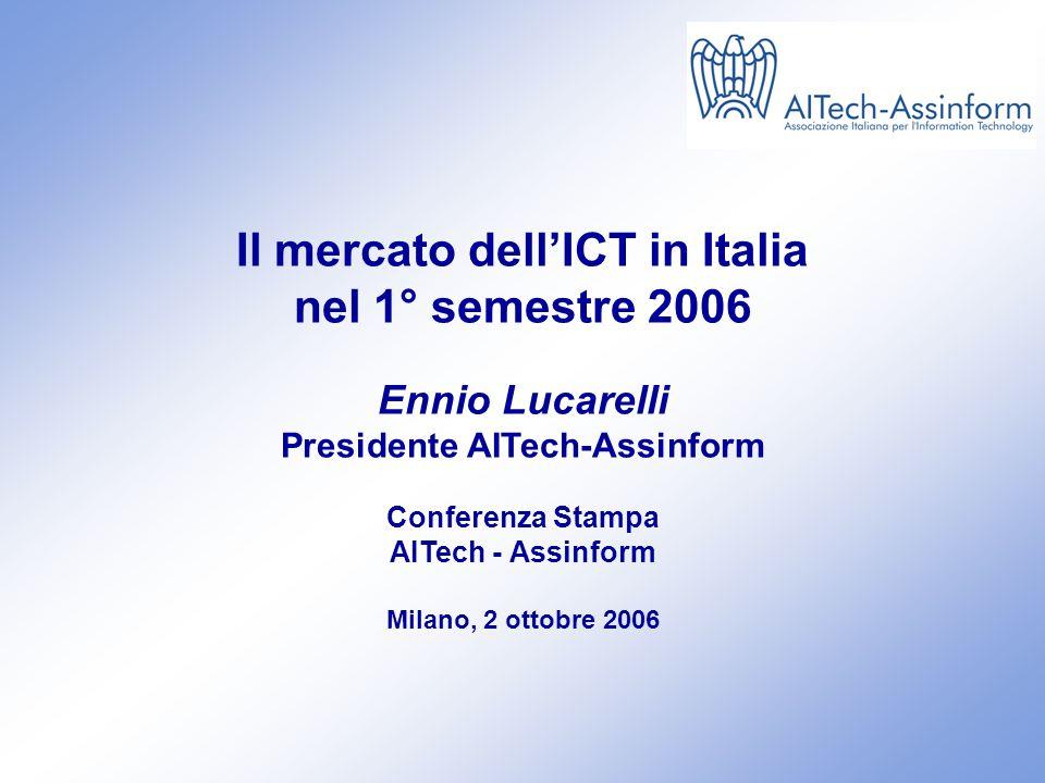Il mercato dell'ICT in Italia nel 1° semestre 2006 2 ottobre 2006 – Slide 0 Il mercato dell'ICT in Italia nel 1° semestre 2006 Ennio Lucarelli Presidente AITech-Assinform Conferenza Stampa AITech - Assinform Milano, 2 ottobre 2006