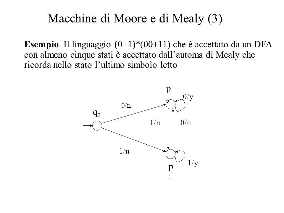 Macchine di Moore e di Mealy (3) Esempio. Il linguaggio (0+1)*(00+11) che è accettato da un DFA con almeno cinque stati è accettato dall'automa di Mea