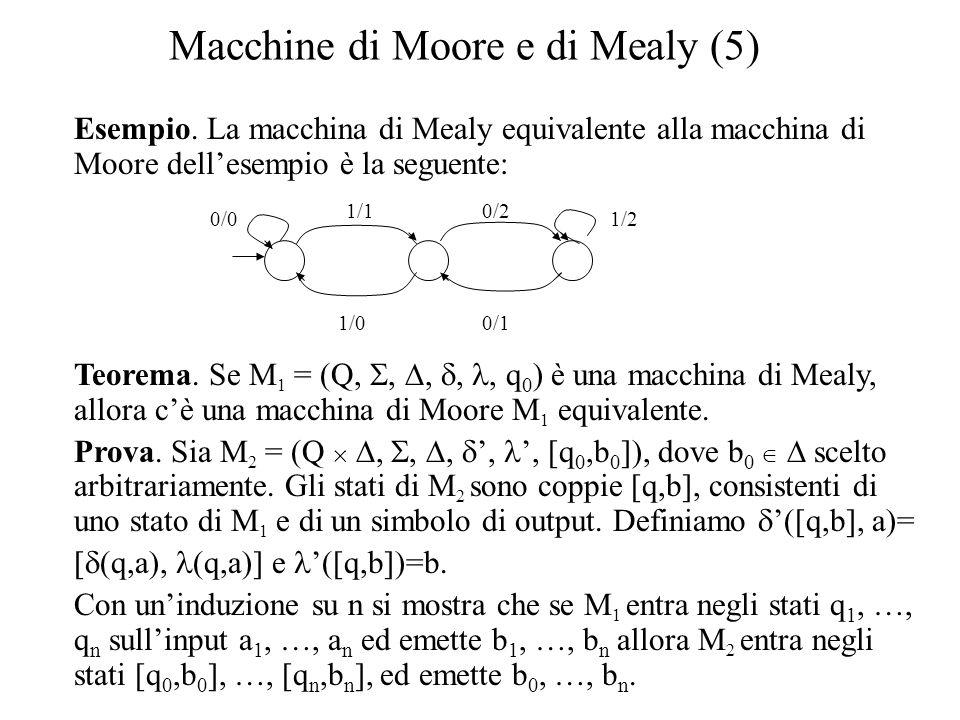 Macchine di Moore e di Mealy (5) Esempio. La macchina di Mealy equivalente alla macchina di Moore dell'esempio è la seguente: Teorema. Se M 1 = (Q, ,