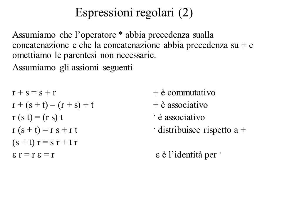 Espressioni regolari (2) Assumiamo che l'operatore * abbia precedenza sualla concatenazione e che la concatenazione abbia precedenza su + e omettiamo le parentesi non necessarie.