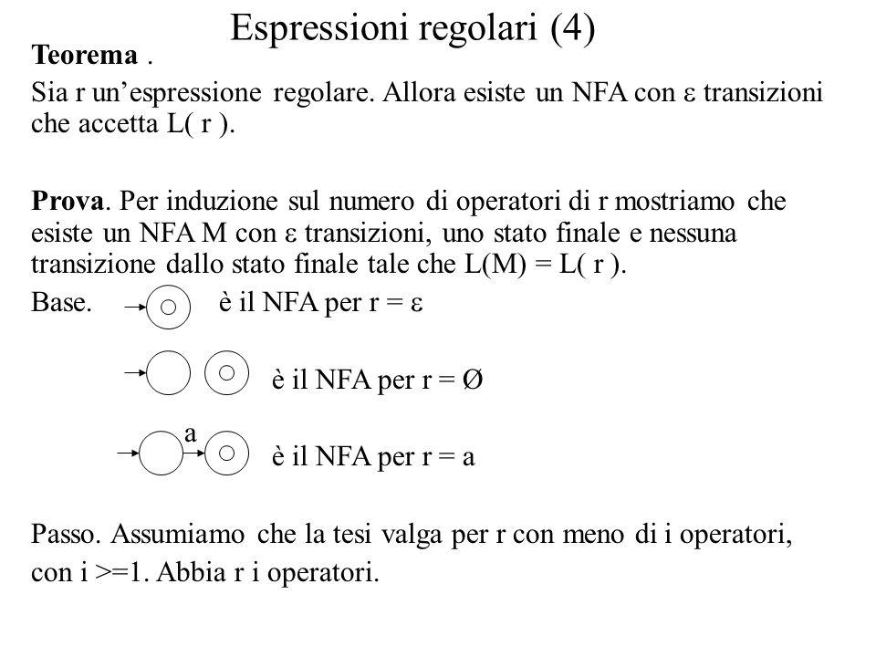 Espressioni regolari (4) Teorema. Sia r un'espressione regolare. Allora esiste un NFA con  transizioni che accetta L( r ). Prova. Per induzione sul n