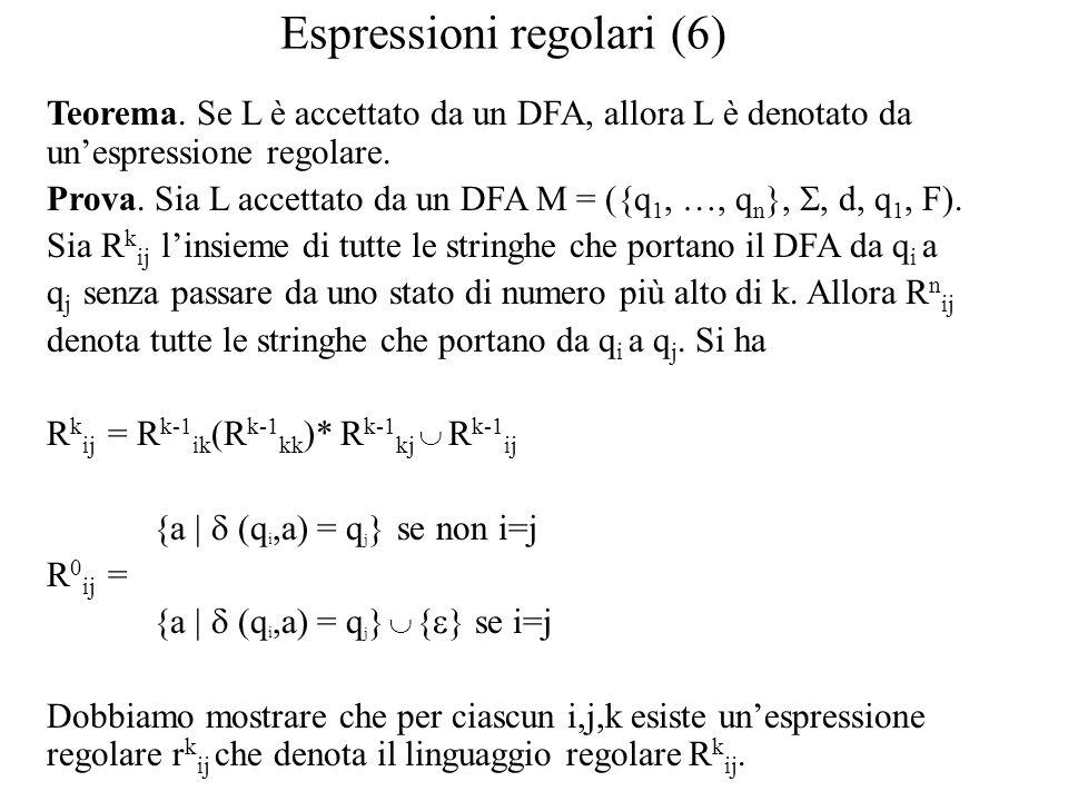 Espressioni regolari (6) Teorema. Se L è accettato da un DFA, allora L è denotato da un'espressione regolare. Prova. Sia L accettato da un DFA M = ({q