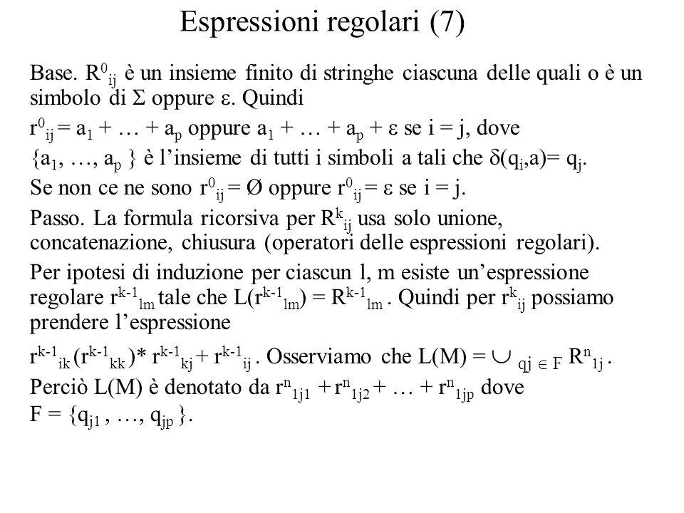 Espressioni regolari (7) Base. R 0 ij è un insieme finito di stringhe ciascuna delle quali o è un simbolo di  oppure . Quindi r 0 ij = a 1 + … + a p