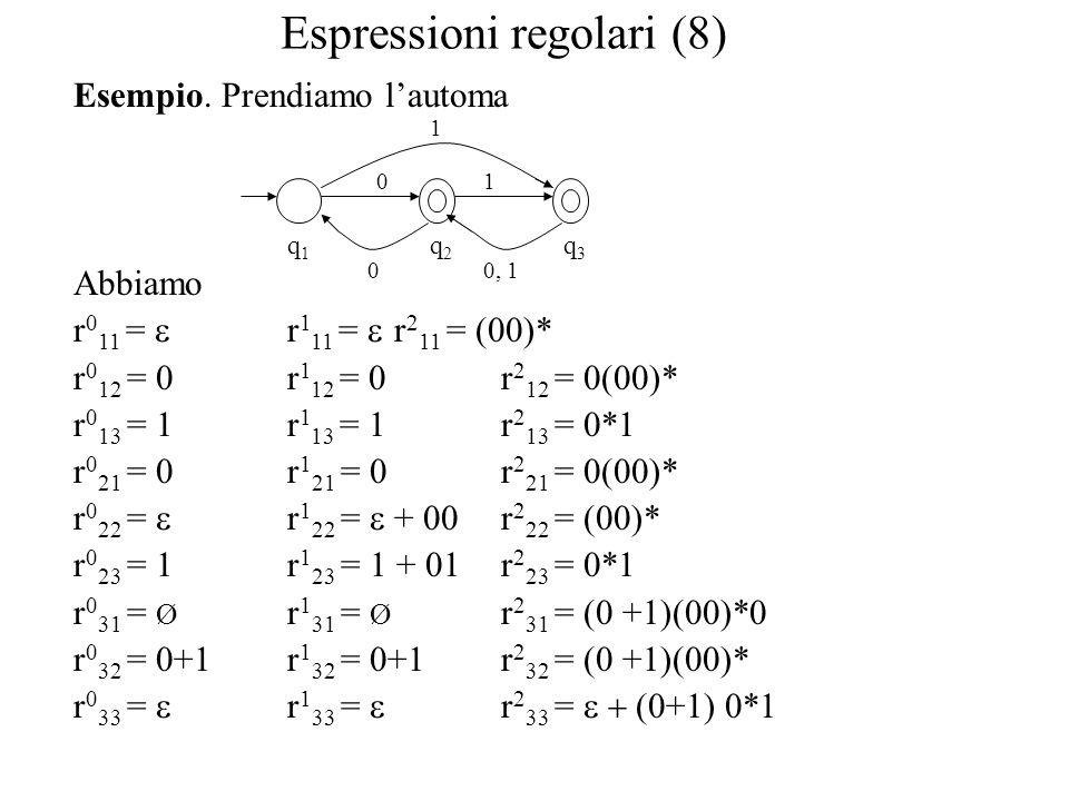 Espressioni regolari (8) Esempio. Prendiamo l'automa Abbiamo r 0 11 =  r 1 11 =  r 2 11 = (00)* r 0 12 = 0r 1 12 = 0r 2 12 = 0(00)* r 0 13 = 1r 1 13