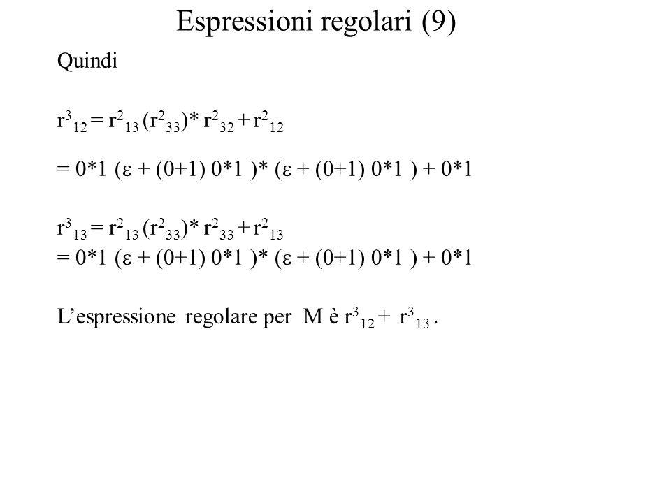 Espressioni regolari (9) Quindi r 3 12 = r 2 13 (r 2 33 )* r 2 32 + r 2 12 = 0*1 (  + (0+1) 0*1 )* (  + (0+1) 0*1 ) + 0*1 r 3 13 = r 2 13 (r 2 33 )* r 2 33 + r 2 13 = 0*1 (  + (0+1) 0*1 )* (  + (0+1) 0*1 ) + 0*1 L'espressione regolare per M è r 3 12 + r 3 13.