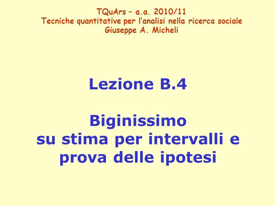 Lezione B.4 Biginissimo su stima per intervalli e prova delle ipotesi TQuArs – a.a. 2010/11 Tecniche quantitative per l'analisi nella ricerca sociale