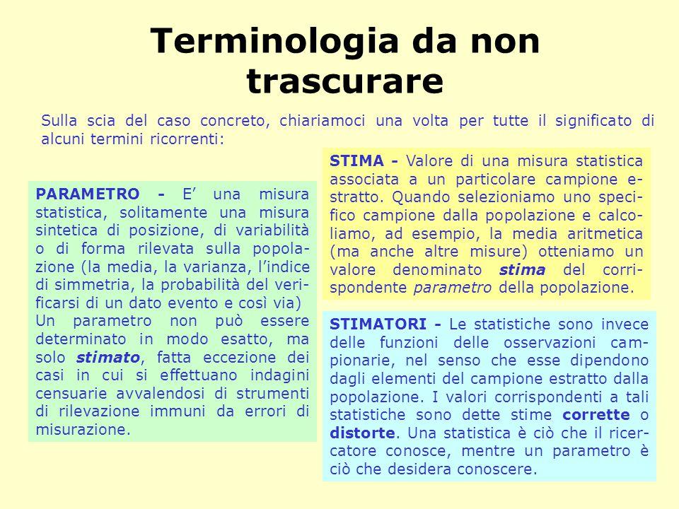 Terminologia da non trascurare PARAMETRO - E' una misura statistica, solitamente una misura sintetica di posizione, di variabilità o di forma rilevata