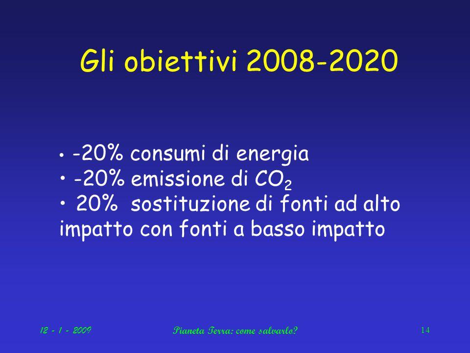 12 - 1 - 2009Pianeta Terra: come salvarlo.