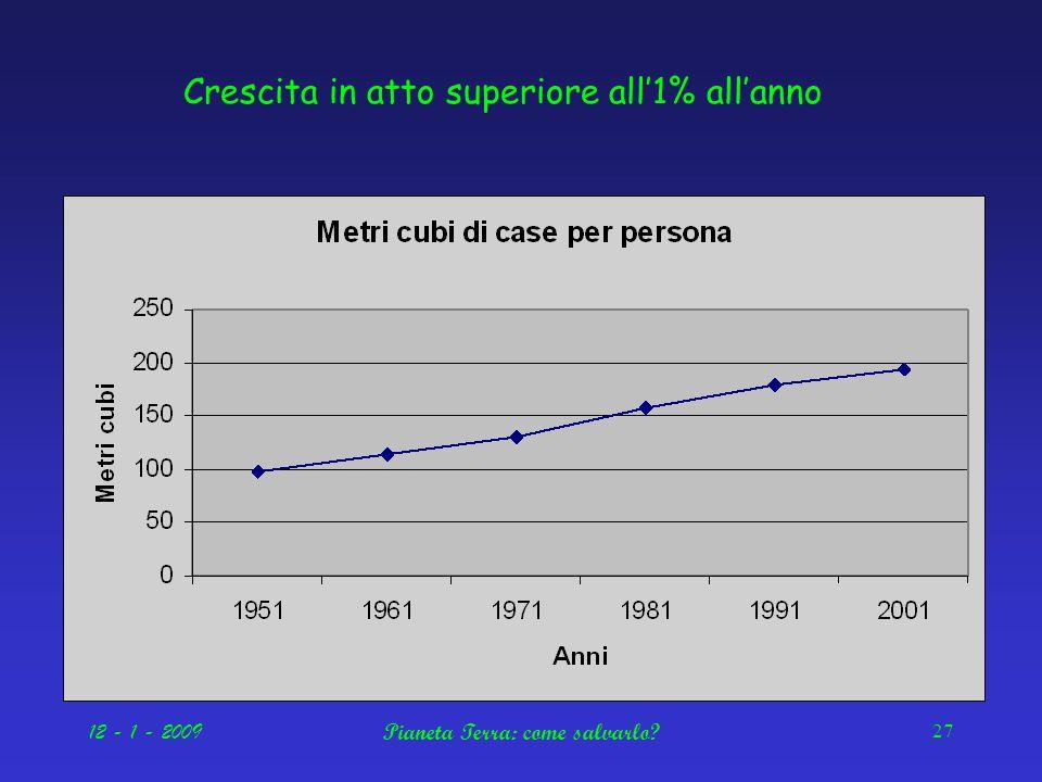 12 - 1 - 2009Pianeta Terra: come salvarlo 27 Crescita in atto superiore all'1% all'anno