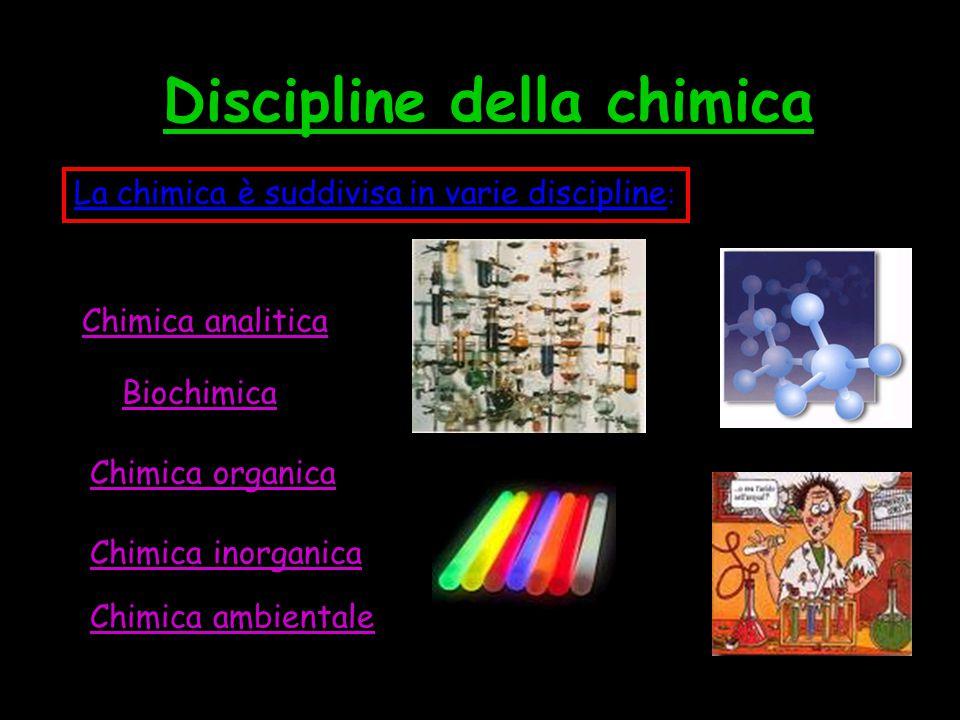 CHIMICA ANALITICA La chimica analitica si può suddividere in varie discipline: La chimica analitica studia l'identificazione delle specie chimiche che compongono sostanze e materiali.