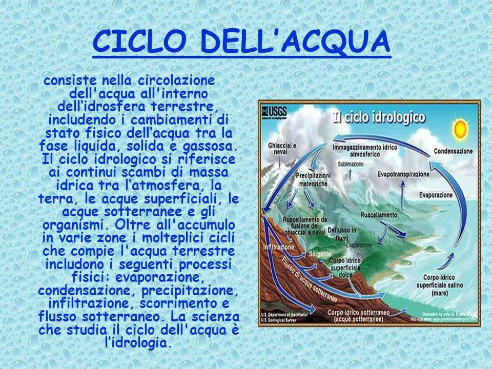 CICLO DELL'ACQUA consiste nella circolazione dell acqua all interno dell'idrosfera terrestre, includendo i cambiamenti di stato fisico dell'acqua tra la fase liquida, solida e gassosa.