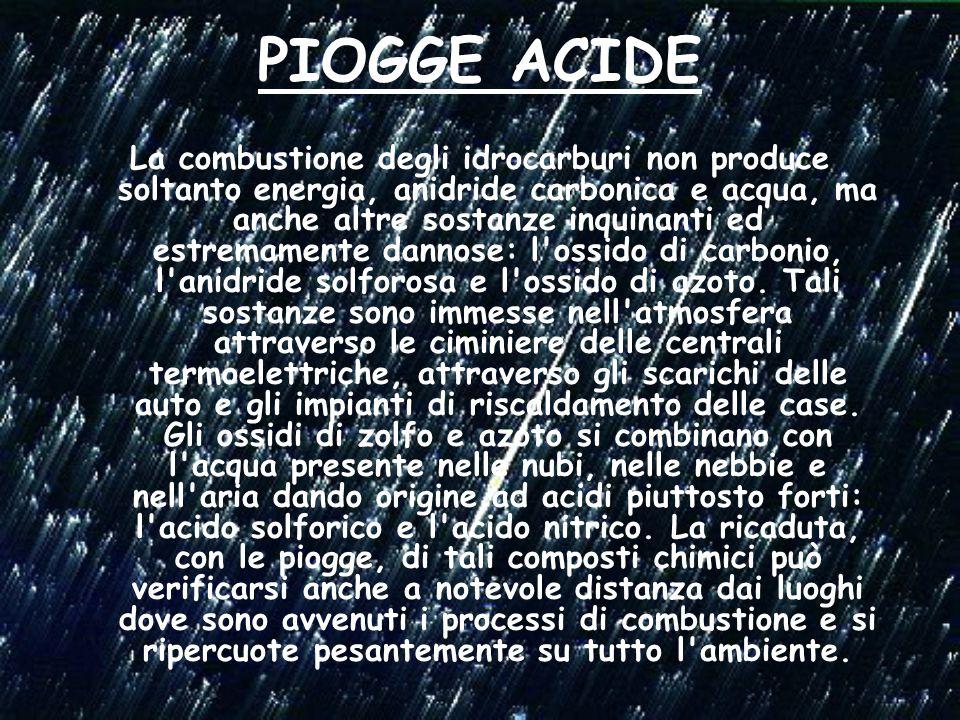 PIOGGE ACIDE La combustione degli idrocarburi non produce soltanto energia, anidride carbonica e acqua, ma anche altre sostanze inquinanti ed estremamente dannose: l ossido di carbonio, l anidride solforosa e l ossido di azoto.