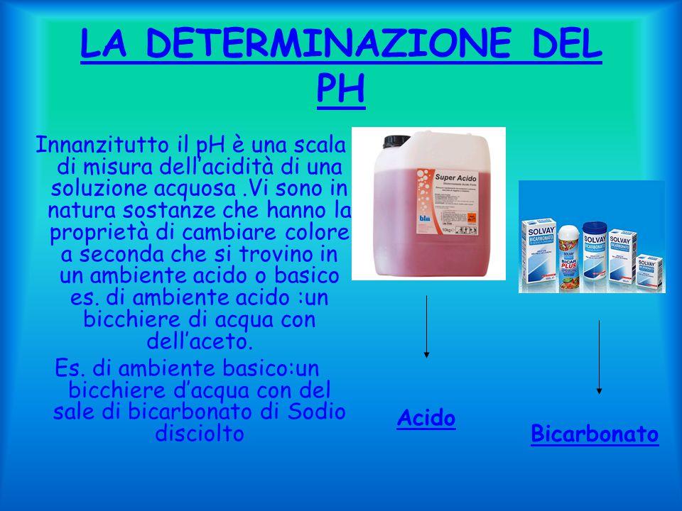 LA DETERMINAZIONE DEL PH Innanzitutto il pH è una scala di misura dell'acidità di una soluzione acquosa.Vi sono in natura sostanze che hanno la proprietà di cambiare colore a seconda che si trovino in un ambiente acido o basico es.