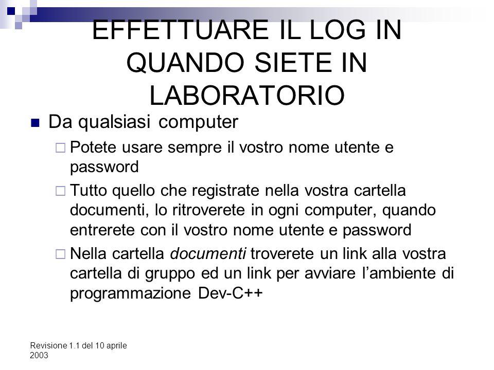 Revisione 1.1 del 10 aprile 2003 EFFETTUARE IL LOG IN QUANDO SIETE IN LABORATORIO Da qualsiasi computer  Potete usare sempre il vostro nome utente e