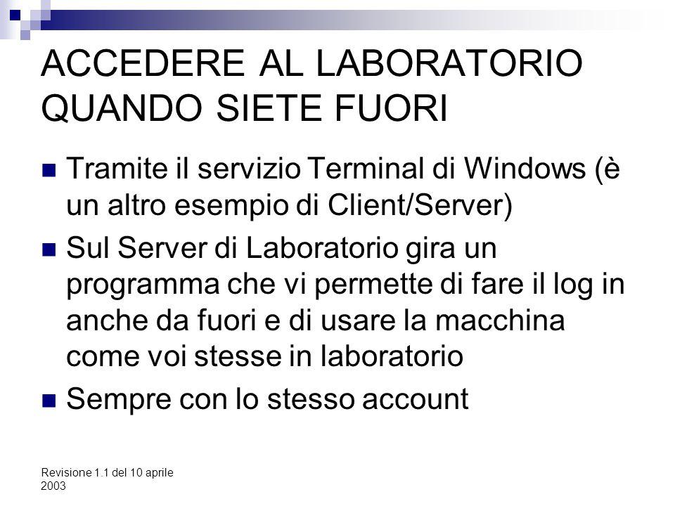 Revisione 1.1 del 10 aprile 2003 ACCEDERE AL LABORATORIO QUANDO SIETE FUORI Tramite il servizio Terminal di Windows (è un altro esempio di Client/Serv