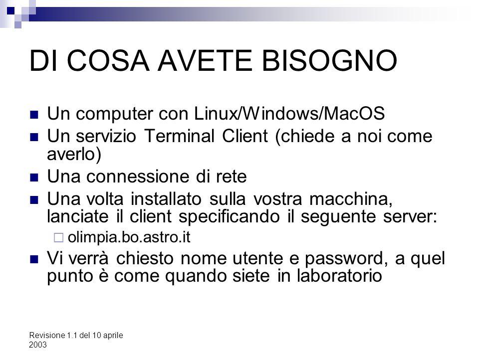 Revisione 1.1 del 10 aprile 2003 DI COSA AVETE BISOGNO Un computer con Linux/Windows/MacOS Un servizio Terminal Client (chiede a noi come averlo) Una