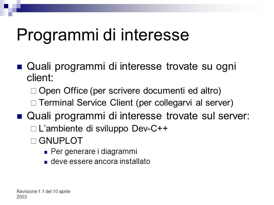Revisione 1.1 del 10 aprile 2003 Programmi di interesse Quali programmi di interesse trovate su ogni client:  Open Office (per scrivere documenti ed